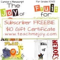 OVER – Subscriber Only FREEBIE! $10 Gift Certificate to Early Learning Store!