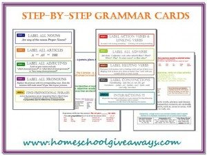 Grammar Chart Cards by sproutingtadpoles.com
