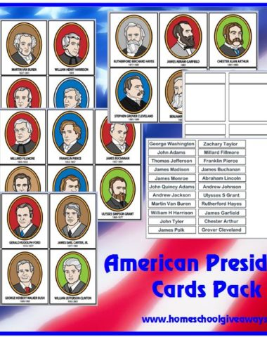 US presidents flash cards