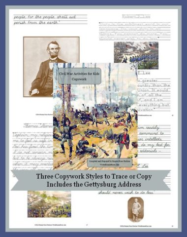Civil War Activities for Kids Copywork