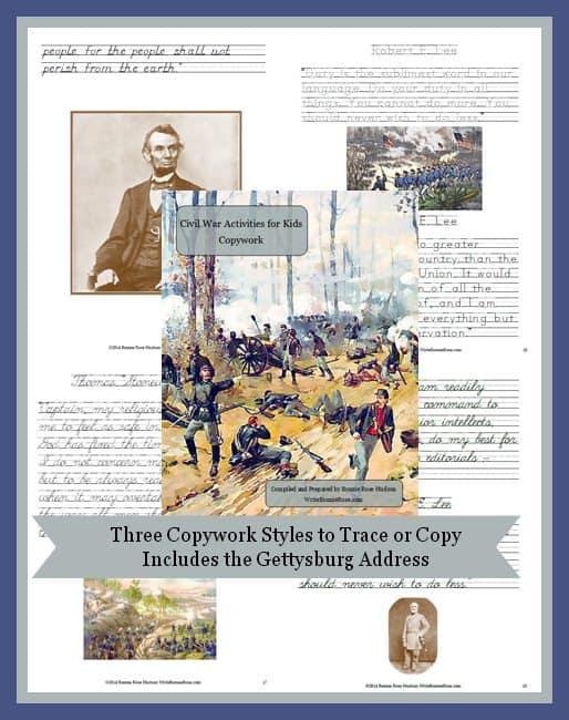 Civil War Activities for Kids Copywork