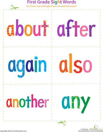 Exceptional image regarding 1st grade sight words printable