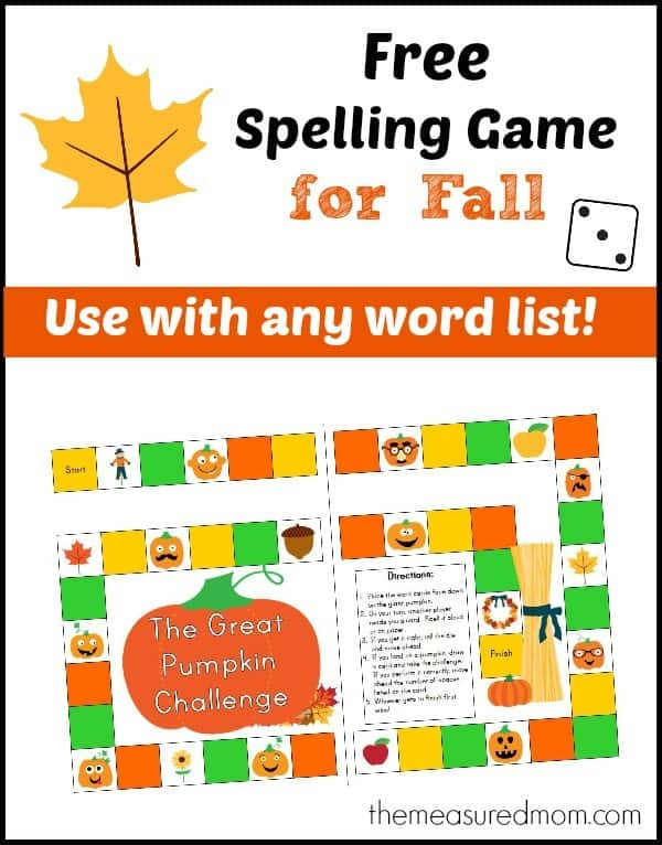 Free Fall Themed Spelling Game