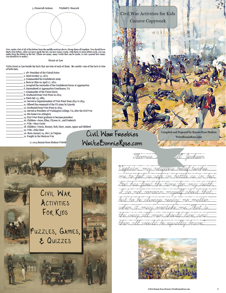 It's just a picture of Gutsy Civil War Printable Activities