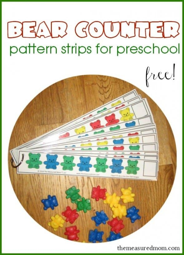 Free Bear Counter Pattern Strips Homeschool Giveaways