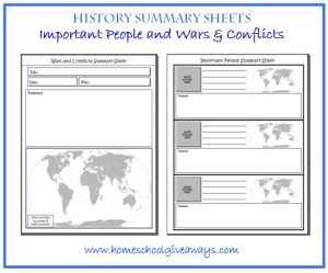 History Summary Sheets by sproutingtadpoles.com