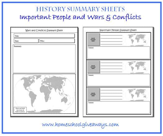FREE Instant Download: History Summary Sheets – Important People and ...