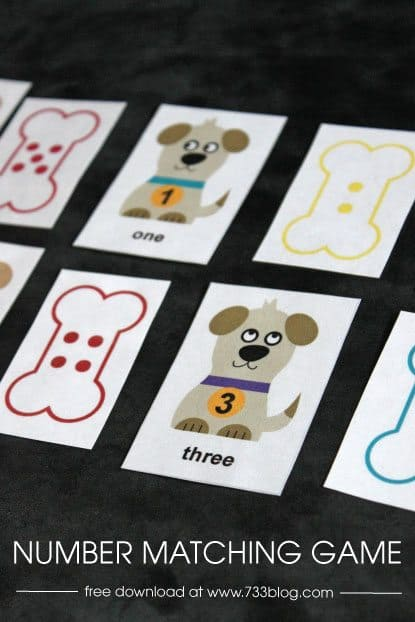 FREE Preschool Number Matching Game