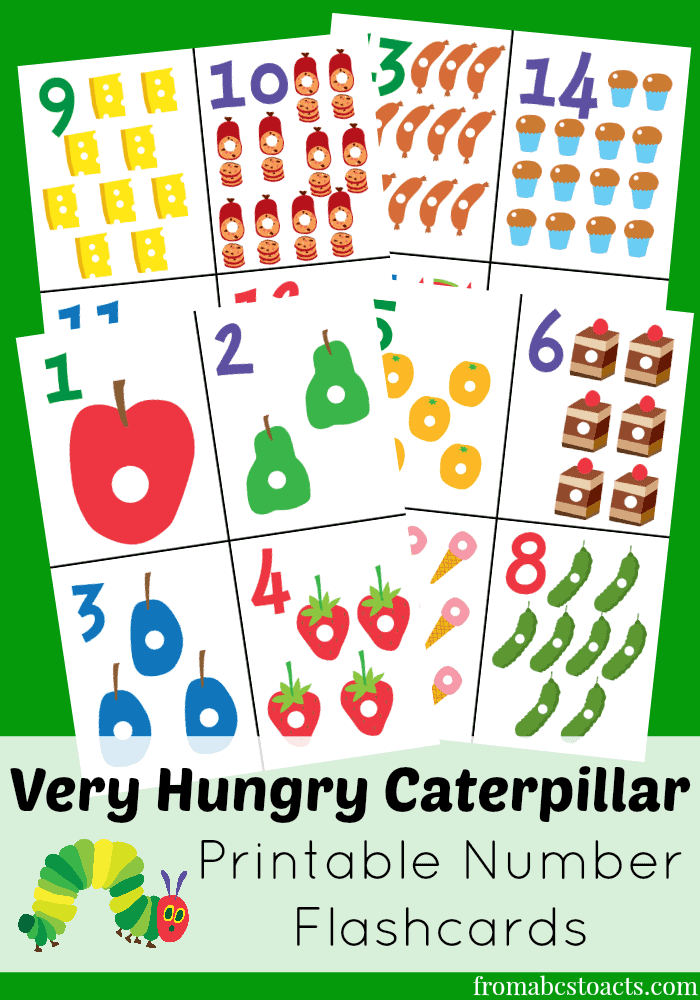 image about Printable Number Flashcards known as The Fairly Hungry Caterpillar Printable Variety Flashcards
