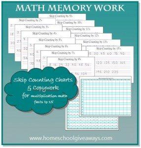 Math Memory Work Charts & Copywork by sproutingtadpoles.com