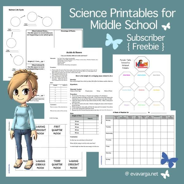free science printables for middle school