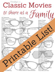 Free printable list of family friendly movies for House classics list