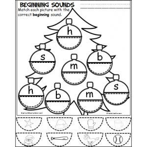 FREE Cut and Paste Christmas Ornament Beginning Sounds Practice ...