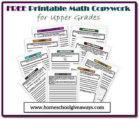 FREE Math Copywork by sproutingtadpoles.com