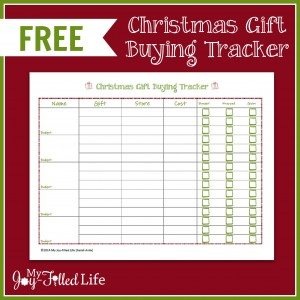 FREE Christmas Gift Buying Tracker