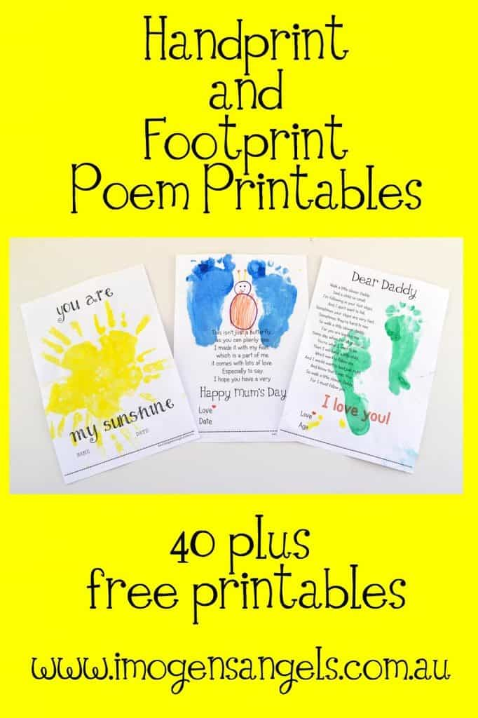 Lively image in footprints poem printable