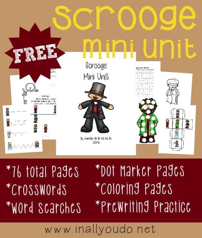 Scrooge Christmas Carol Coloring Pages Free: FREE Scrooge Mini Unit {76 Pages}