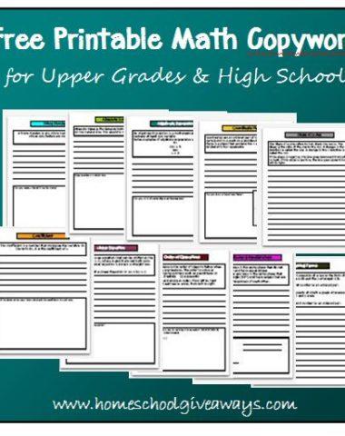 Math Copywork for Upper Grades by sproutingtadpoles.com