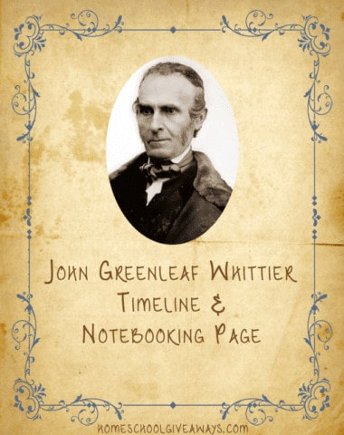 American Authors Timeline Worksheet and Notebooking Page-John Greenleaf Whittier
