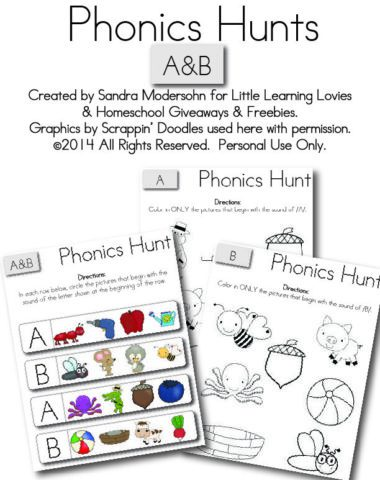 Free Kids Printable - Phonics Hunt for Letters A and B
