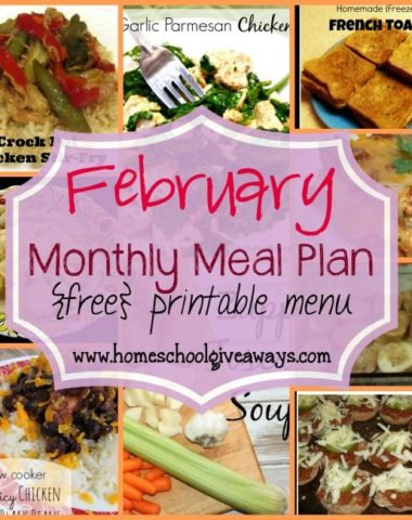 Check out February Meal Plan with loads of new recipes, easy meals and Slow Cooker recipes!! :: www.homeschoolgiveaways.com
