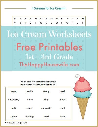 FREE Ice Cream Themed Worksheets for 1st-3rd Grade