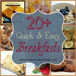 Breakfasts can be rough with everyone trying to find what they want. Here are 20+ Quick & Easy recipes to make mornings run a little smoother!! :: www.homeschoolgiveaways.com
