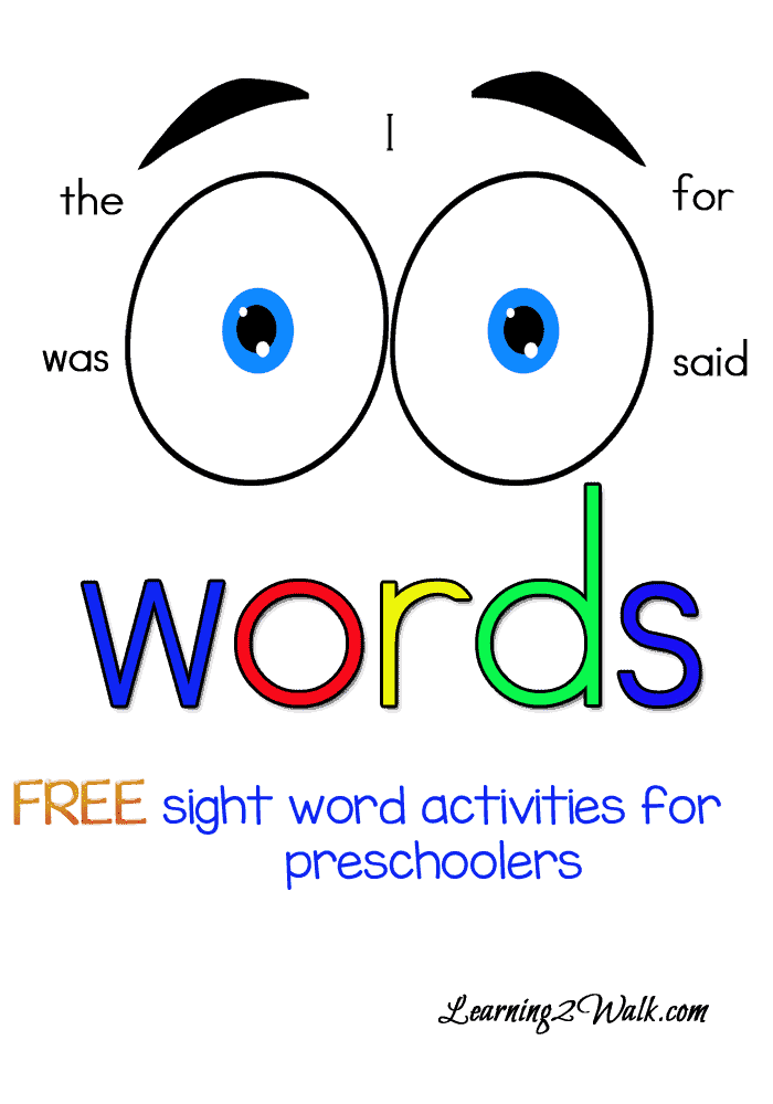 FREE Sight Word Printables for Preschoolers