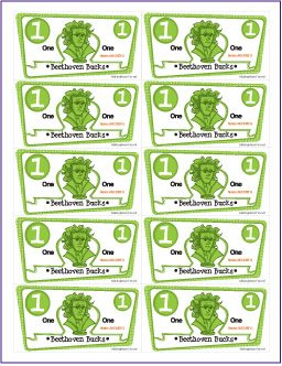 graphic about Mom Bucks Printable titled Cost-free Beethoven Dollars Printable - Homeschool Giveaways