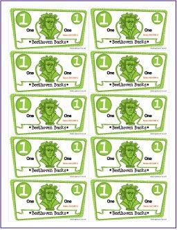 Free beethoven bucks printable for Classroom bucks template