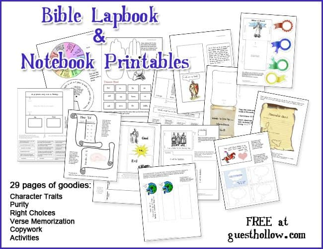 Get a FREE printable Bible lapbook and notebook pages over at ...