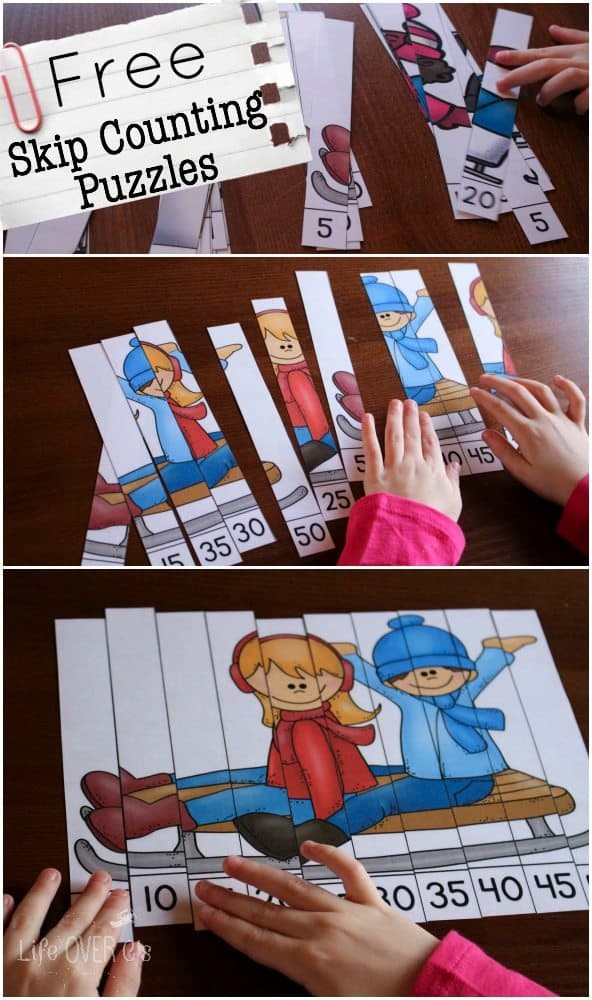 Free Winter Themed Skip Counting Puzzles Homeschool