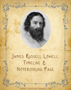 American Authors Timeline Worksheet and Notebooking Page - James Russell Lowell