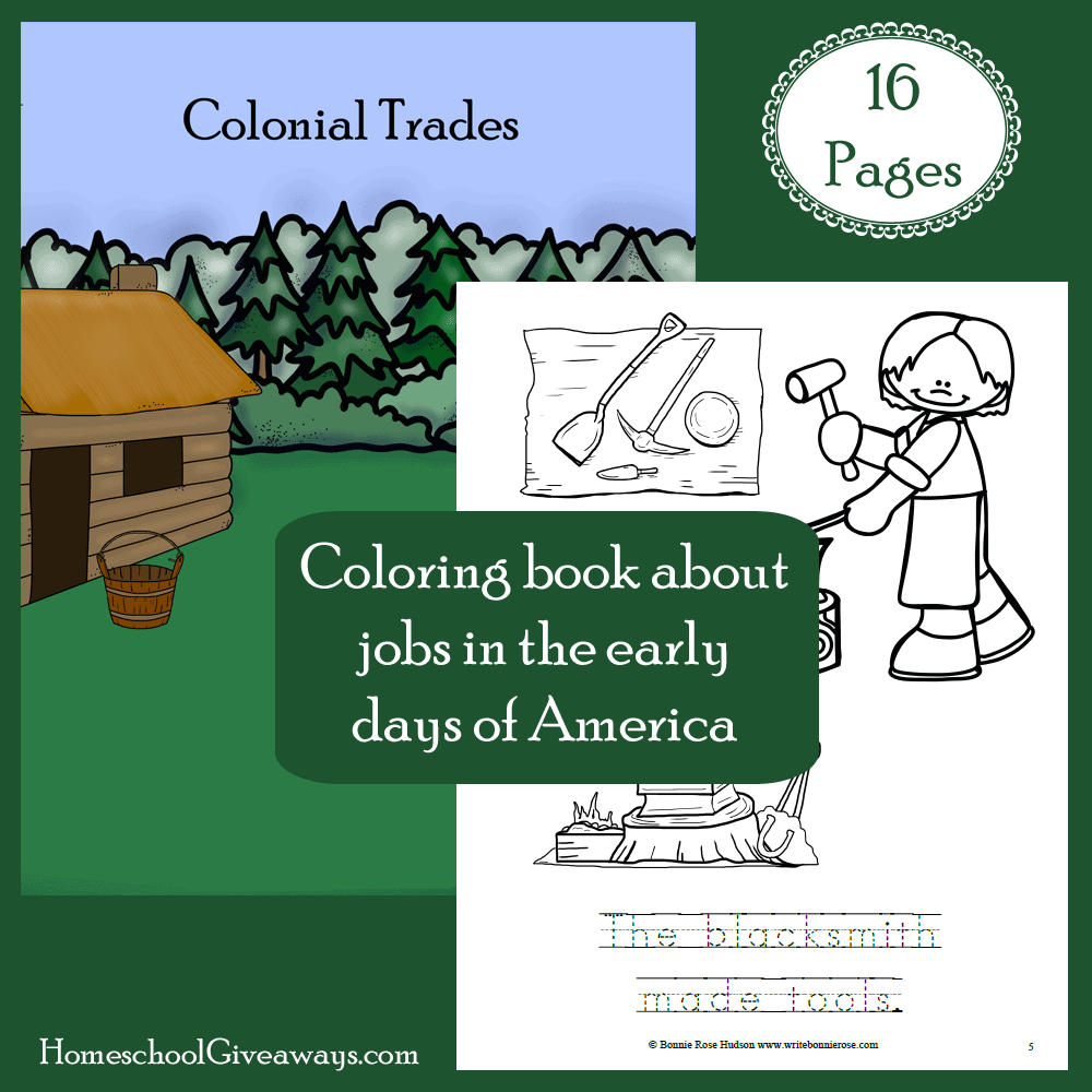 Free colonial life coloring book for Colonial coloring pages