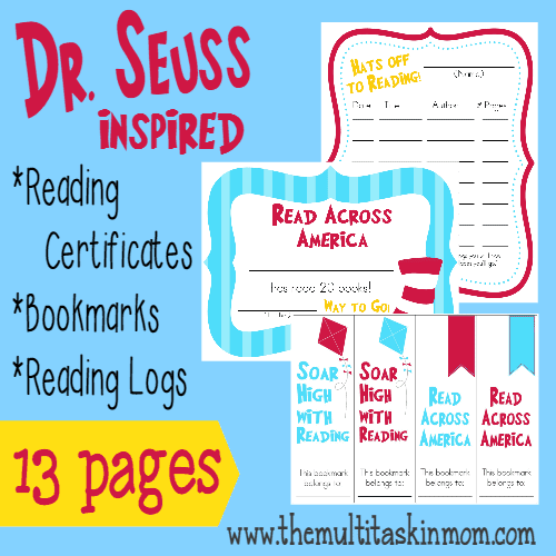 graphic relating to Free Printable Reading Certificates referred to as Dr. Seuss impressed Examining Logs Certificates Cost-free