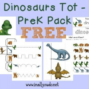 What kid doesn't love Dinosaurs? Grab this fun and FREE Dinosaur Tot/PreK Pack with over 30 pages of puzzles, prewriting, patterns, sequencing and MORE!! :: www.homeschoolgiveaways.com