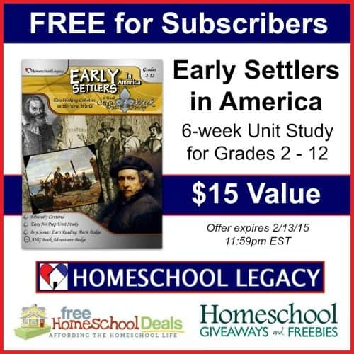 FREE Early Settlers in America Unit Study for Grades 2-12 ($15 Value!) Limited Time!