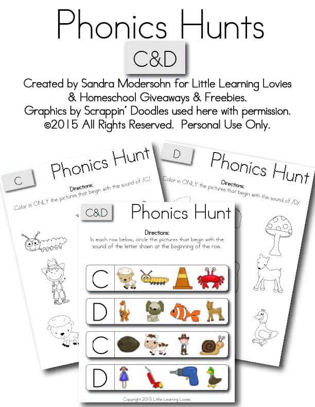 Free Kids Printable Phonics Hunt: Letters C u0026 D