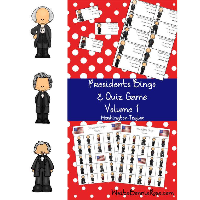 US Presidents Bingo and Quiz Game, Volume 1