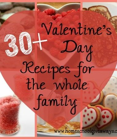 Valentine's Day is just around the corner. These 30+ recipes are sure to make your day special for the whole family!! :: www.homeschoolgiveaways.com