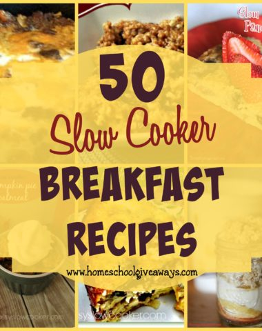 Breakfast is the most important meal of the day, but it can be hectic in a busy household. Use these 50 Slow Cooker recipes to make them run smoother! :: www.homeschoolgiveaways.com