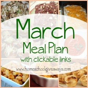 Make meals easier this month with this yummy and delicious March Meal Plan!! Includes Breakfast, Lunch, Snack and dessert ideas too!! :: www.homeschoolgiveaways.com