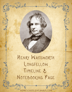 Henry Wadsworth Longfellow Timeline Worksheet and Notebooking Page
