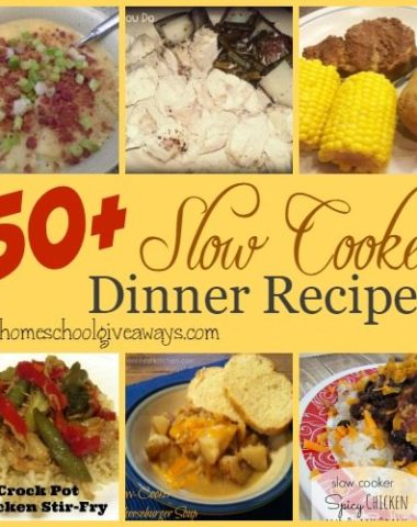 Are you a busy Mom? Try out these 50+ Slow Cooker Dinner Recipes to make dinner time a little easier! :: www.homeschoolgiveaways.com