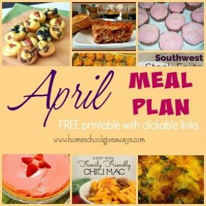 Make meal planning easy with this FREE Printable April Meal Plan. Includes clickable links to each recipe!! :: www.homeschoolgiveaways.com