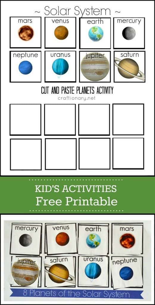 Solar System Cut & Paste Activity – FREE Printable