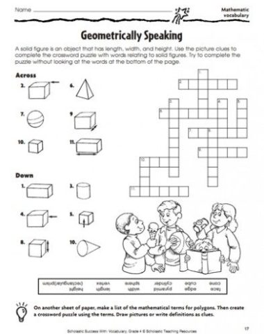 FREE Geometry Worksheet www.homeschoolgiveaways.com TEach geometry in a fun way with this crossword worksheet!