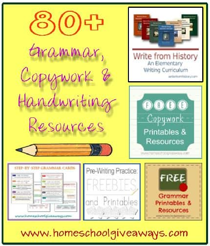 80+ Grammar Copywork Handwriting Resources for Homeschool