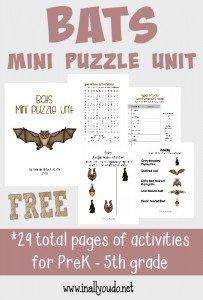 Bats Mini Puzzle Unit FREEBIE