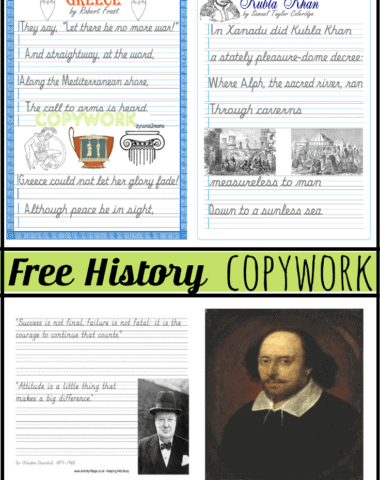 FREE Middle School Copy Work www.homeschoolgiveaways.com Learn history while improving handwriting!